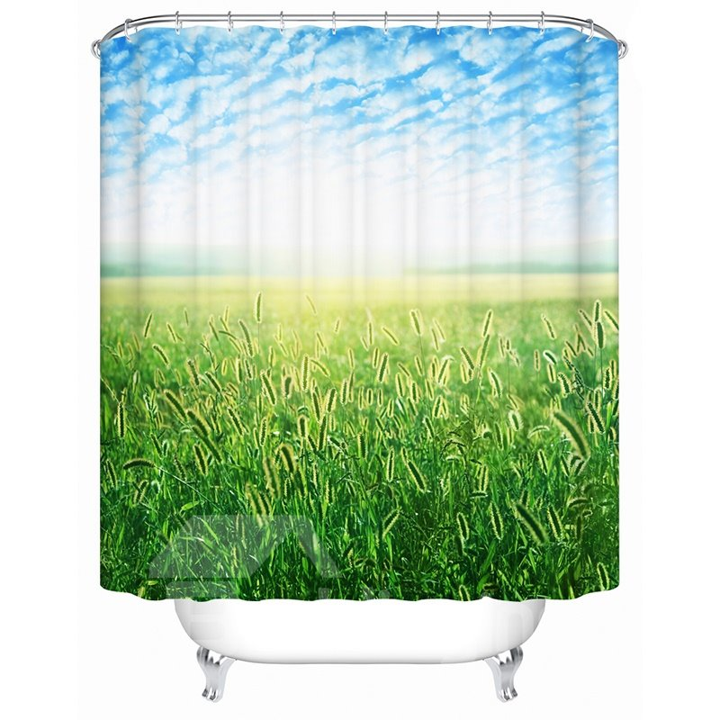 Peaceful Unique Green Field 3D Shower Curtain