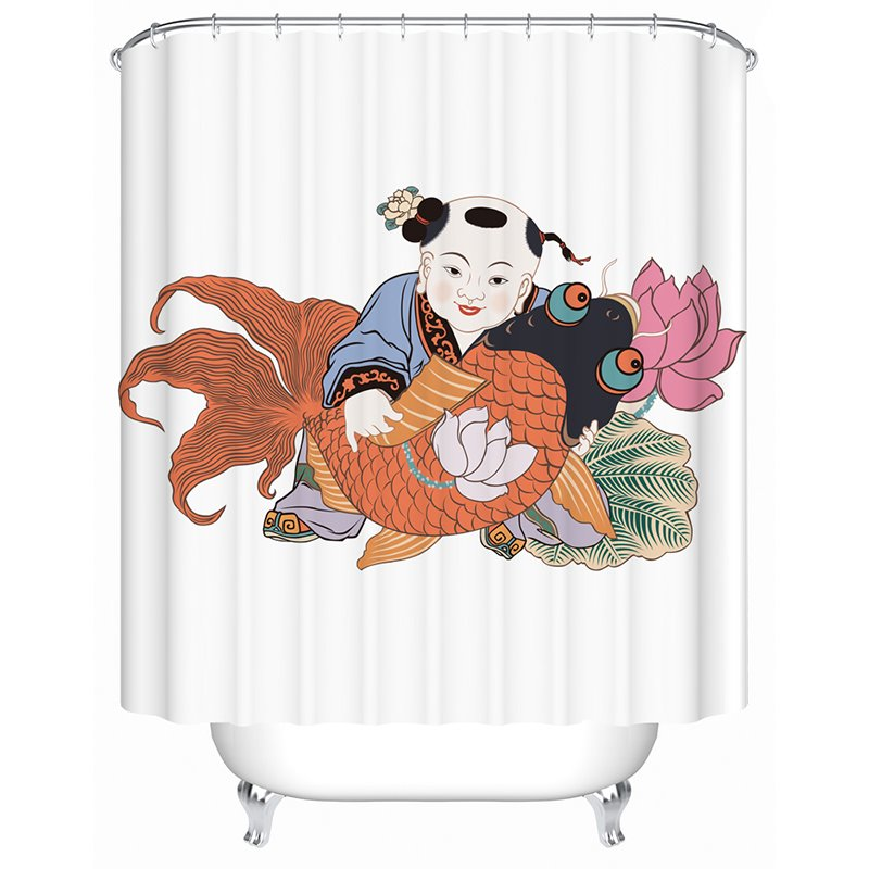 Hot Selling Popular Chinese Painting Shower Curtain
