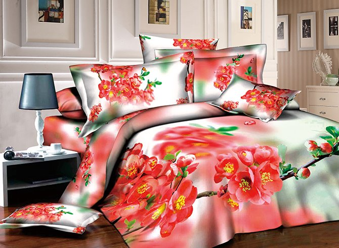 3D Red Peach Blossom Printed Cotton 4-Piece Bedding Sets/Duvet Covers