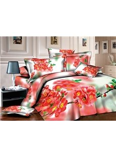 Gorgeous Red Peach Blossom Print Pastoral Style 4-Piece Cotton Duvet Cover Sets