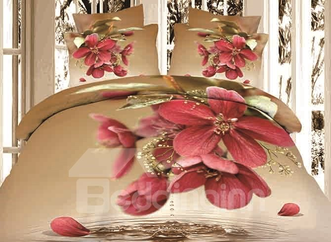 Dewy Red Flowers Print Brown 4-Piece Duvet Cover Sets