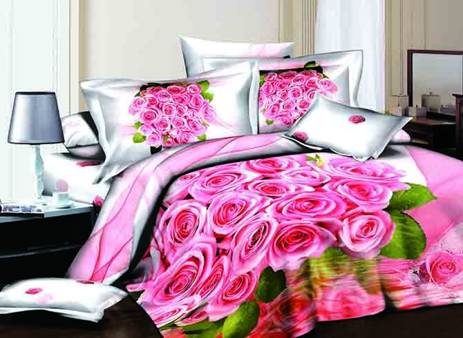 3D Cluster of Pink Roses and Green Leaves Printed Cotton 4-Piece Bedding Sets