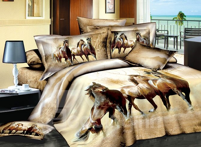 Three Running Horses Print Brown 4-Piece Cotton Duvet Cover Sets