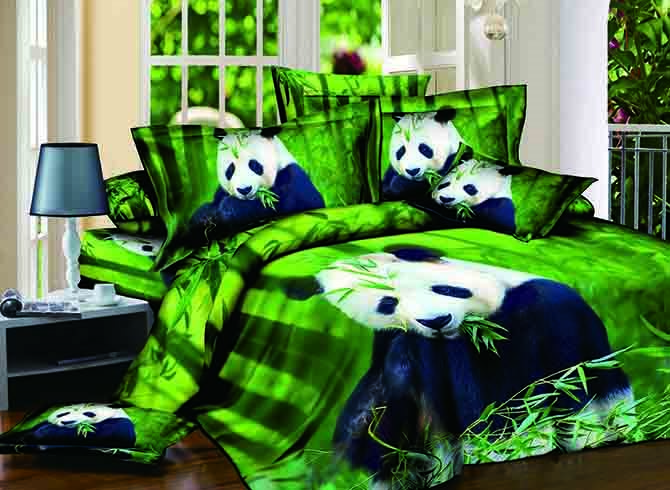 3D Panda Eating Bamboo Printed Cotton 4-Piece Bedding Sets/Duvet Covers