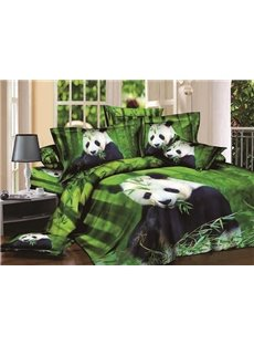 Cute Panda Eating Bamboo Print Green 4-Piece Cotton Duvet Cover Sets