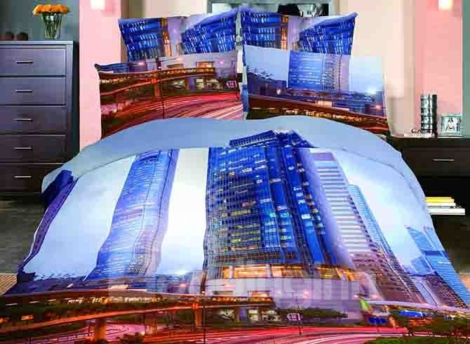 Modern City Scenery Print 4-Piece Cotton Duvet Cover Sets