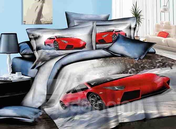 Cool Red Car Design Cotton 4-Piece Duvet Cover Sets