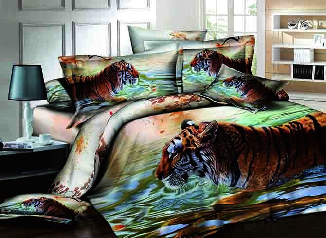 3D Tiger in the River Printed Cotton 4-Piece Bedding Sets/Duvet Covers