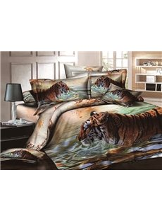 Vigorous Tiger on Water Print Cotton 4-Piece Duvet Cover Sets