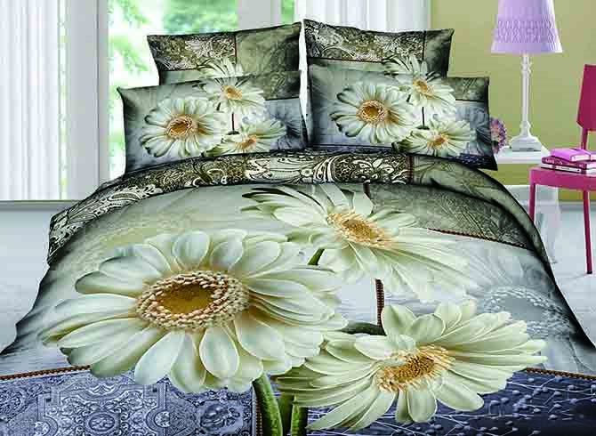 3D White Coneflower Printed Cotton 4-Piece Bedding Sets/Duvet Covers