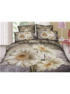 Undefiled Paludosum Daisy Print Cotton 4-Piece Duvet Cover Sets