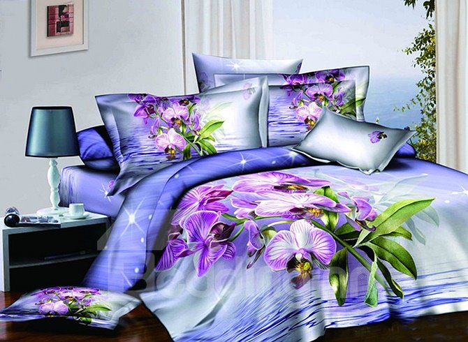 3D Light Purple Orchid Printed Cotton 4-Piece Bedding Sets/Duvet Covers