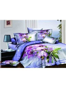 Shining Purple Flowers Blue 4-Piece Cotton Duvet Cover Sets