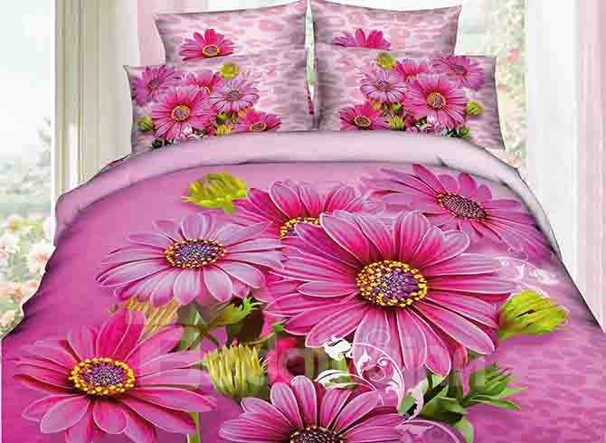 Lively Blooming Rosy Flowers Print 4-Piece Duvet Cover Sets