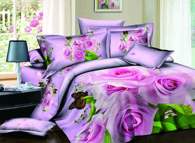 Graceful Pink Flowers Butterfly Print 4-Piece Duvet Cover Sets