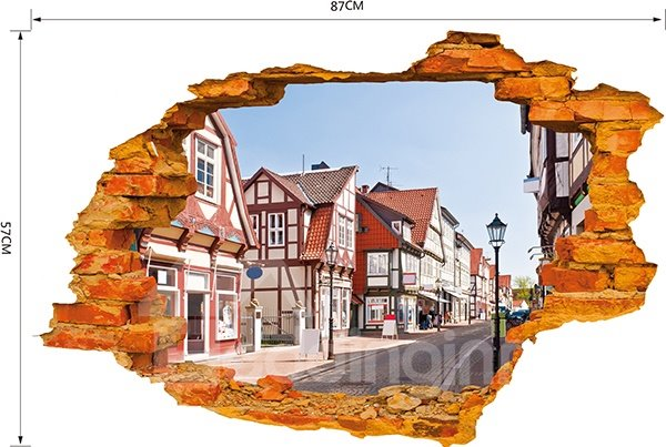 Creative Wall Hole View Town Street 3D Wall Sticker