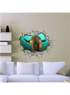 Cute Seal Looking Through Wall Hole 3D Wall Sticker