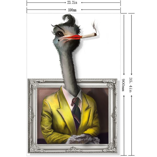 Arrogant Smoking Ms. Ostrich in Suits 3D Wall Sticker