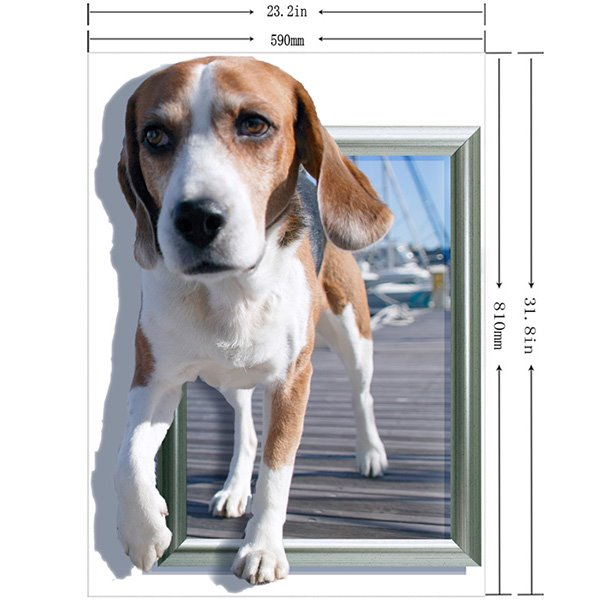 Adorable Puppy Walking out of Photo 3D Wall Sticker