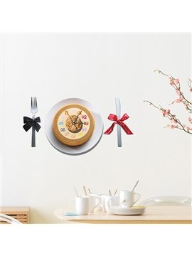 Creative Cake and Knife and Fork 3D Sticker Wall Clock