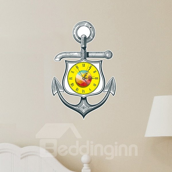 Classic Anchor Design Nursery 3D Sticker Wall Clock