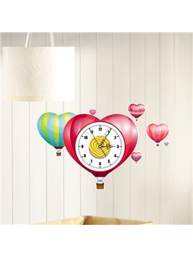 Creative Air Balloon Design Nursery 3D Sticker Wall Clock