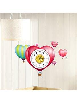 Creative Air Balloon Design Nursery 3D Sticker Wall Clock