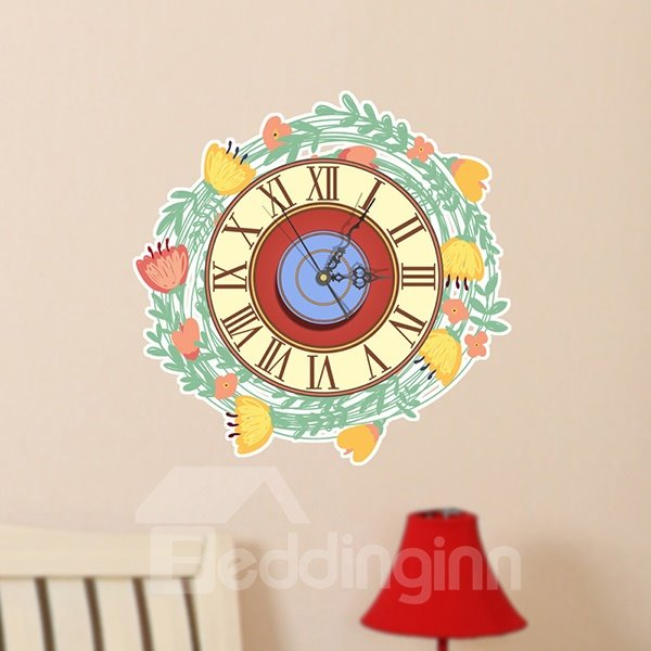 Wonderful Garland Design Nursey 3D Sticker Wall Clock