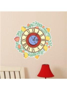 Wonderful Garland Design Nursey 3D Sticker Wall Clock