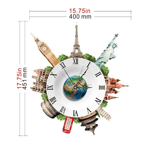 World Famous Architecture City Lanmarks 3D Sticker Wall Clock