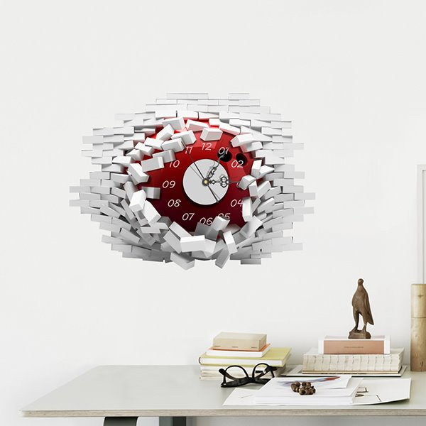Amazing Brick Wall Hole 3D Sticker Wall Clock