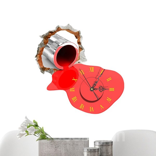 Creative Red Paint out of Pipe 3D Sticker Wall Clock