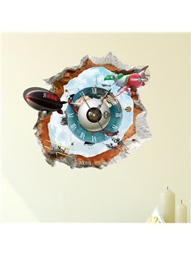 Creative Broken Wall Submarine 3D Sticker Wall Clock