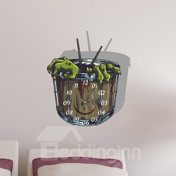 Horror Green Gremlin Claw 3D Sticker Wall Clock