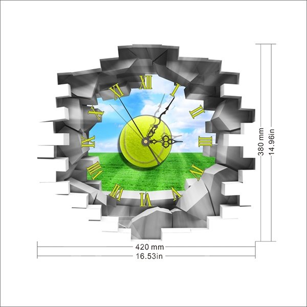 Wall Hole View Green Field 3D Sticker Wall Clock