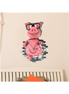Cute Piglet with Glasses 3D Sticker Wall Clock