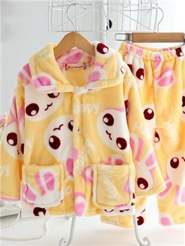 Lovely Yellow Rabbit Pattern Warm Flannel Kids Pajamas