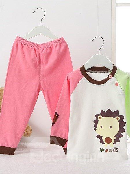 Cute Little Hedgehog Print 100% Cotton Kids Pajamas