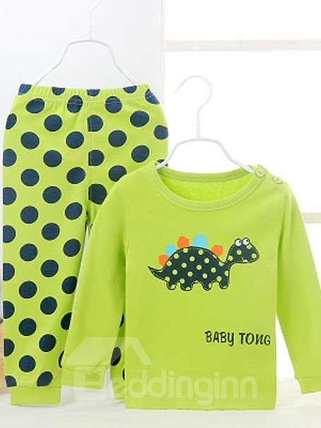 Chic Polka Dot Pattern and Lovely Dinosaur Print Kids Pajamas