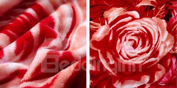 Festive Red Flowers Design Smooth & Soft Flannel Blanket