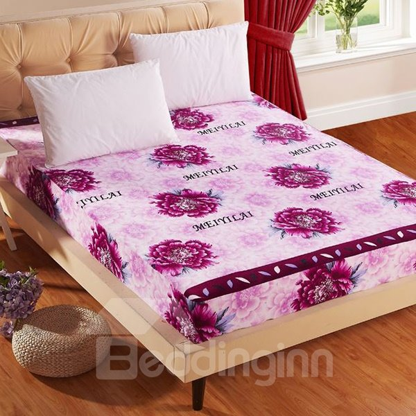 Romantic Noble Purple Flowers Print Flannel Fitted Sheet