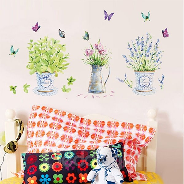 Romantic Room Decoration Potted Flowers Removable Wall Sticker