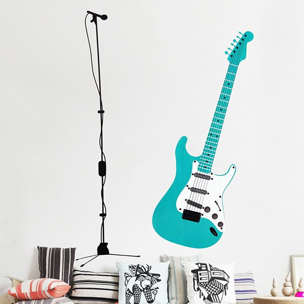 Creative Musical Element Living Room Bedroom Large Guitar Removable Wall Sticker