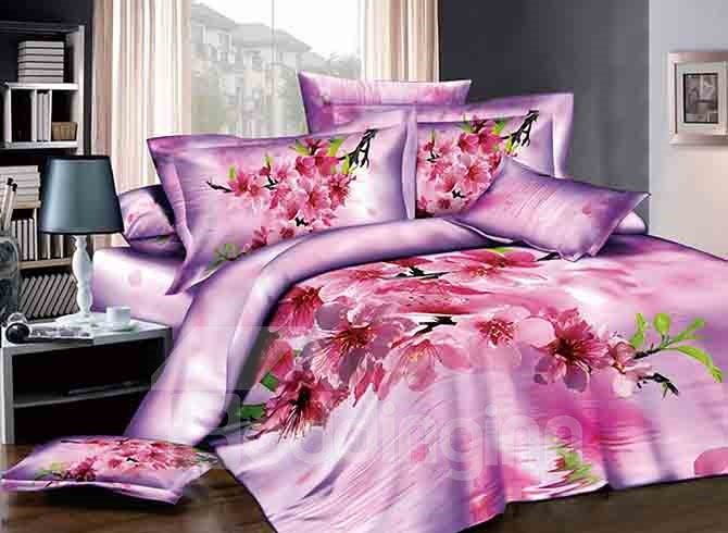 3D Peach Blossom Printed Cotton 4-Piece Pink Bedding Sets/Duvet Cover