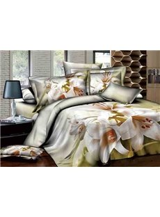 White Lily Design Comfy Cotton 4-Piece Duvet Cover Sets
