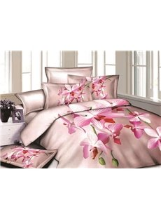 Pastel Pink Flowers Reactive Printing Cotton 4-Piece Duvet Cover Sets