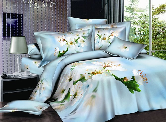 3D White Pear Blossom Printed Cotton 4-Piece Light Blue Bedding Sets/Duvet Covers