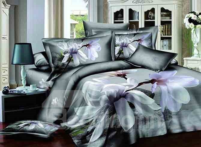 3D Magnolia Printed Cotton 4-Piece Bedding Sets/Duvet Covers