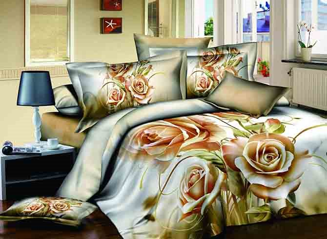 3D Bunch of Champagne Roses Printed Cotton 4-Piece Bedding Sets/Duvet Covers