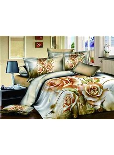 Exquisite Noble Three Champagne Flowers Print 4-Piece Cotton Duvet Cover Sets